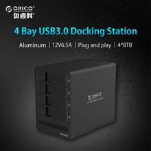 ORICO Herramienta gratuita De Aluminio 4-bay 3.5 USB3.0 a SATA Hdd 4 bahías HDD Caso Caja para PC Portátil HDD Docking Station-(9548U34)