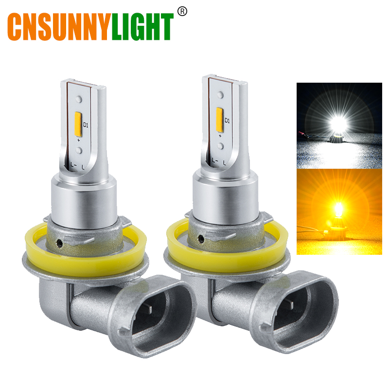 CNSUNNYLIGHT Car Fog Lights B1 H11/H8/H9 9005/HB3 9006/HB4 LED Bulb Auto Driving DRL Lamp White/Yellow 2400Lm Plug&Play 12V 24V