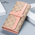 Canvas Women Wallets Canvas Long Section Three Fold Ladies Wallet Large Capacity Pink Luxury Wallet