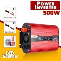 Car Inverter 12V 220V 500W Power Inverter Modified Sine Wave Voltage Converter Transformer 12V/24V To 220V/110V + LCD Display