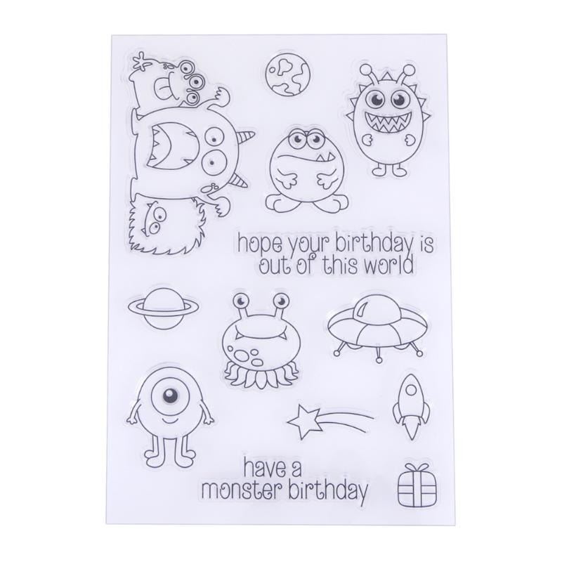 Lovely Cartoon Transparent Clear Stamp Seal for DIY Scrapbooking Photo Album Card Making Template Holder new 220v photosensitive portrait flash stamp machine kit self inking stamping making seal holder film pad no ink