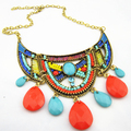 NUEVA Chunky Neón Colgante de Cadena de Las Mujeres Collar Collar de la Declaración 2015 Moda Vintage Bib Collares y Colgantes Joyería Al Por Mayor