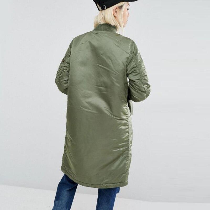 Winter long jackets and coats 2017 spring female coat casual  military olive green bomber jacket women basic jackets plus size 3