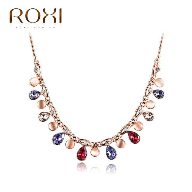 ROXI Длинное Ожерелье Кулон Для Женщин Ювелирные Изделия Красочные Кристалл Воды Падение Роуз Позолоченные На Новый Год Рождество подарок