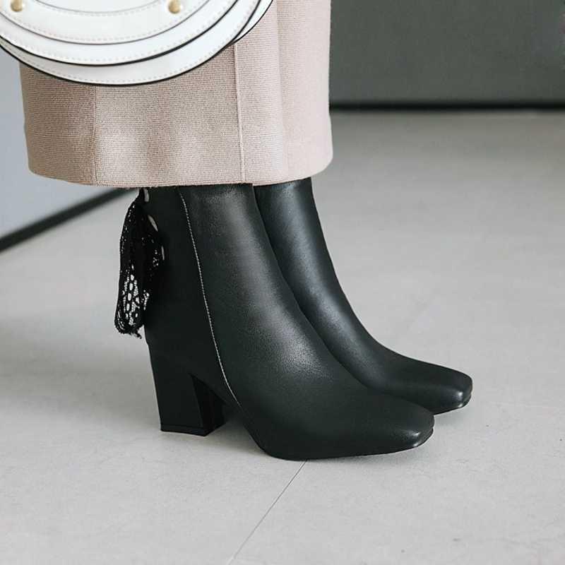 REAVE CAT/ботильоны из pu искусственной кожи на шнуровке, на молнии, с квадратным носком, большой размер 46, на толстом высоком каблуке, Botas feminino mujer, женские, белые