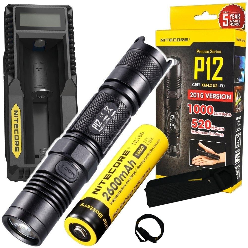 NITECORE P12 1000 Lumens CREE LED tactical flashlight with Nitecore UM10 charger and Nitecore NL186 2600mAh 18650 Battery nitecore tm26gt 3500 lumens led flashlight tiny monster