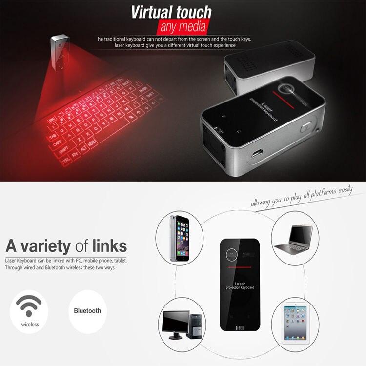DMYCO 2016 neueste Full size Englisch QWERTY Schwarz Laser Tastatur Drahtlose Bluetooth...