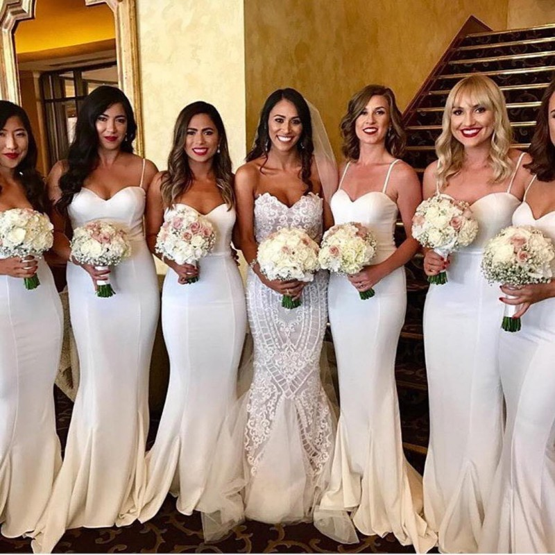 2019 Long   Bridesmaid     Dresses   Sweetheart Neck Spaghetti Strap Mermaid Wedding Party Gown vestido madrinha Free Custom Made