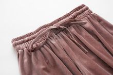7 color Wide leg pants new Gold velvet pants pleated tall waist show thin points wide leg pants elastic waist casual skirt pants