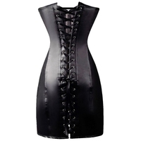 Sexy Steampunk Gothic Women Lingerie Harness Black Leather Long Corset Dress Latex Bodysuit Bandage Bodycon Clubwear Outfits