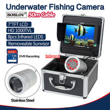 BOBLOV 50M/165ft 7″ LCD Fish Finder IR LED Underwater Fishing Video Camera+8GB SD Card