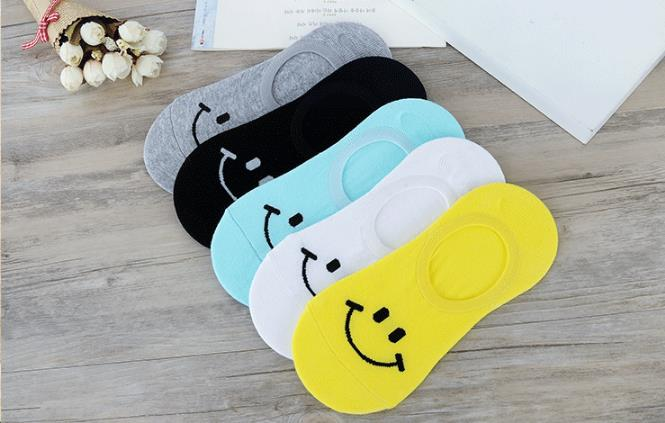 Sock Slippers Free Shipping Women Sock Slippers Smiling Face Cartoon Short 100% Cotton Invisible Socks Breathable Casual Ladies Funny S71 Women's Socks & Hosiery