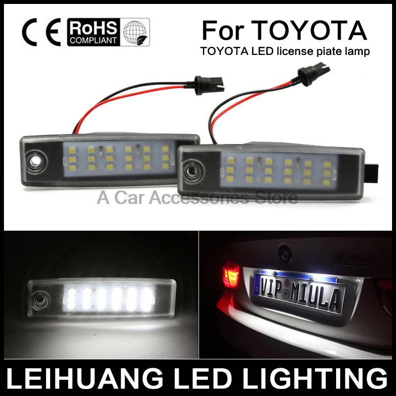 2pcs car styling Bright Led License Number Plate Light for Toyota ...