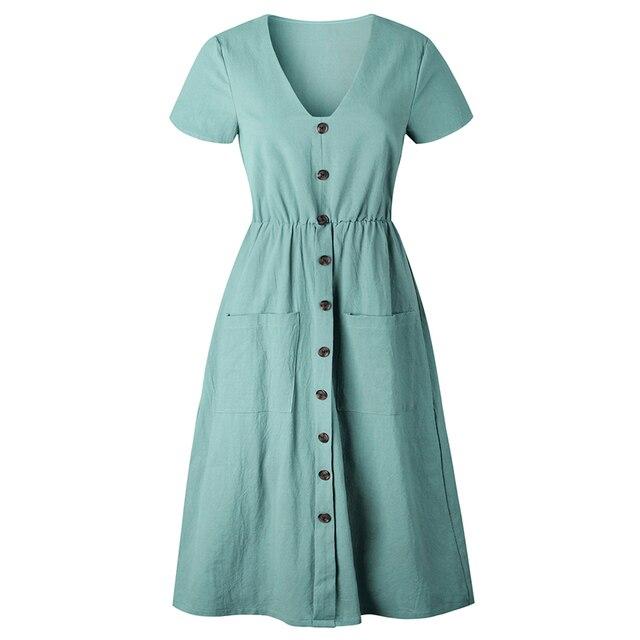 Casual Short-sleeved Solid Dress For Women V-neck Button Pocket Decor Dress Girl Sundress 2018 hot sale