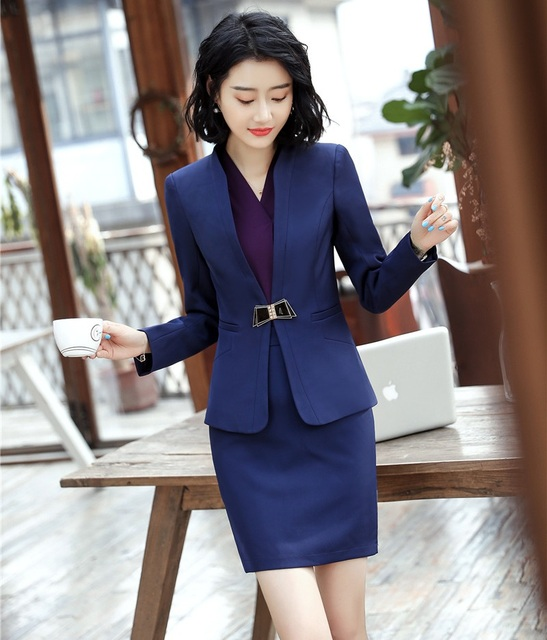 Fashion Navy Blue Blazer Women Business Suits Formal Office Suits