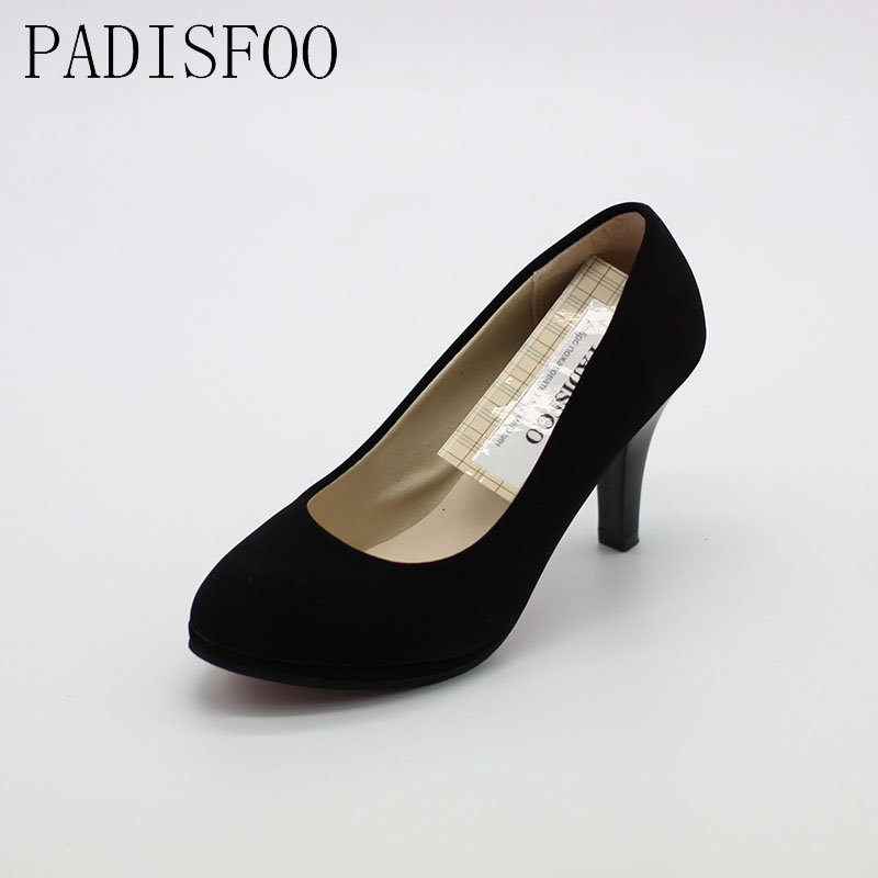 POADISFOO 2017 Women Shoes Summer And Spring Pump Mid Heeled Office Breathable Thin Heels Wedding Lady