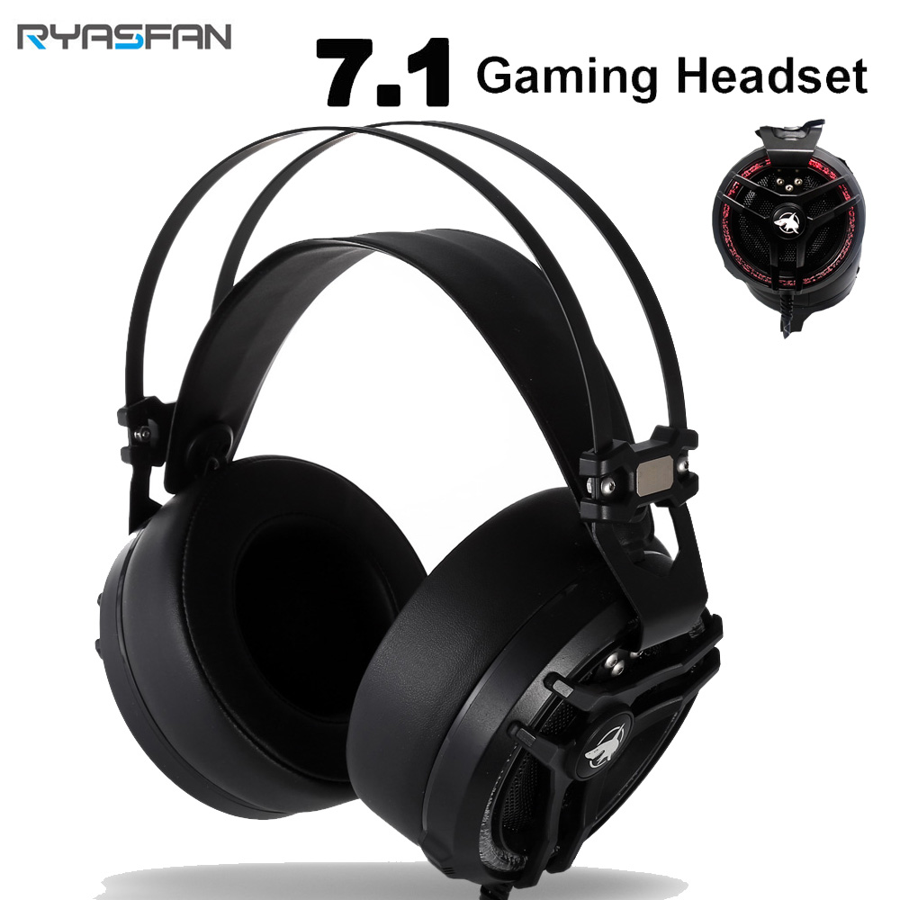 RYASFAN Noise Isolating Cancelling Over Ear Gaming Headset 7 1 with Microphone Handsfree LED USB for