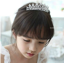Children girl princess rhinestone Crystal crown kids cute tiara wedding prom bandage on his head(China)