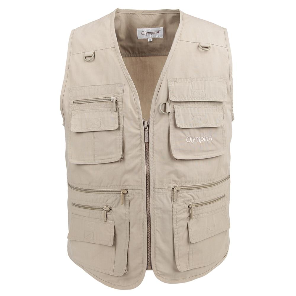 سترات التصوير القطن عادية outdoors wasitcoat منتظم للرجال سترة مع جيوب كثيرة الصيف للرجال زيبر الصيد سترة