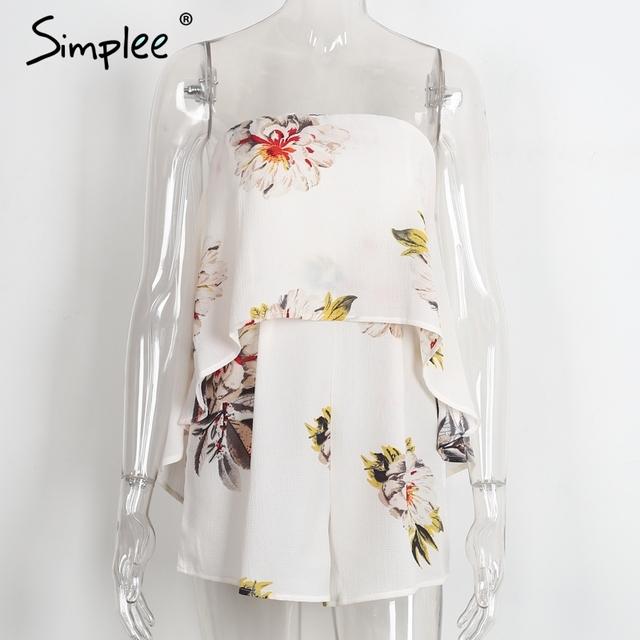 Simplee Strapless floral print sexy bodysuit tube beachwear Elegant women jumpsuit romper Casual chiffon summer playsuit leotard
