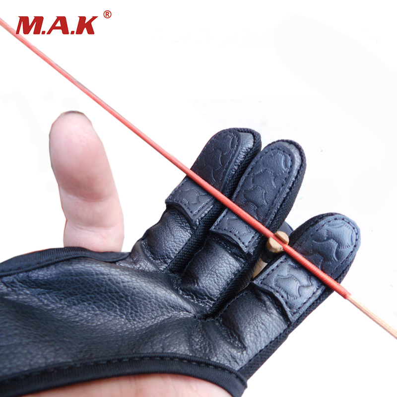 High Elastic Blcak 3 Finger Gloves Leather Hand Protection Archery Protective Gloves for Archery Hunting Shooting pro biker mcs 04 motorcycle racing half finger protective gloves red black size m pair