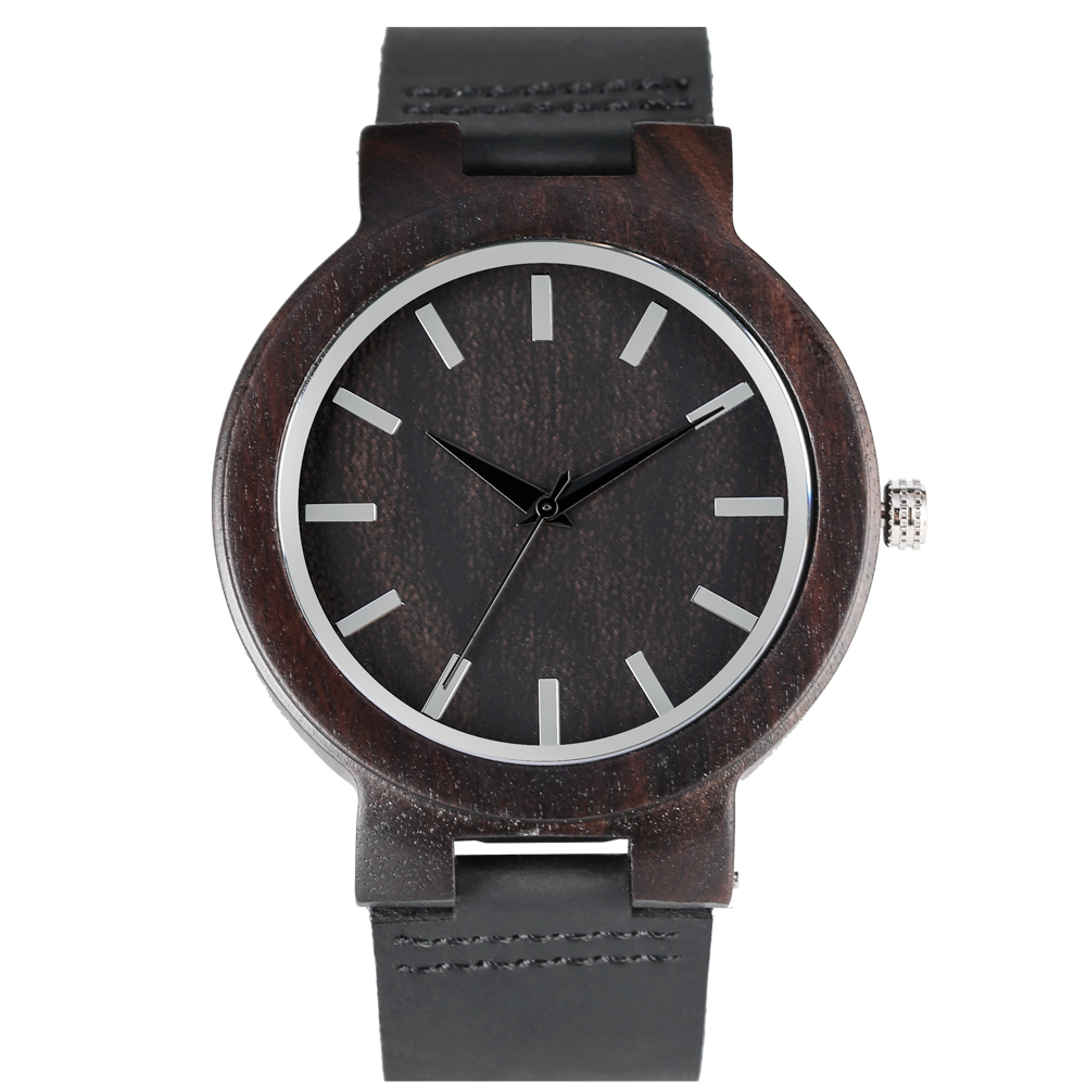 YISUYA Simple Quartz Analog Premium Leather Band Wooden Watches for Men Delicate Large