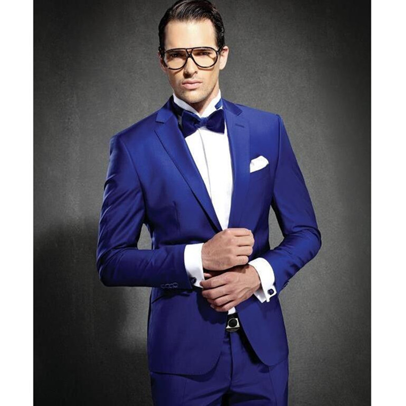 Custom made Royal Blue Groom Tuxedos Notched Lapel Men's Wedding Suits Slim Fit Two Pieces Cheap Groomsmen Suit
