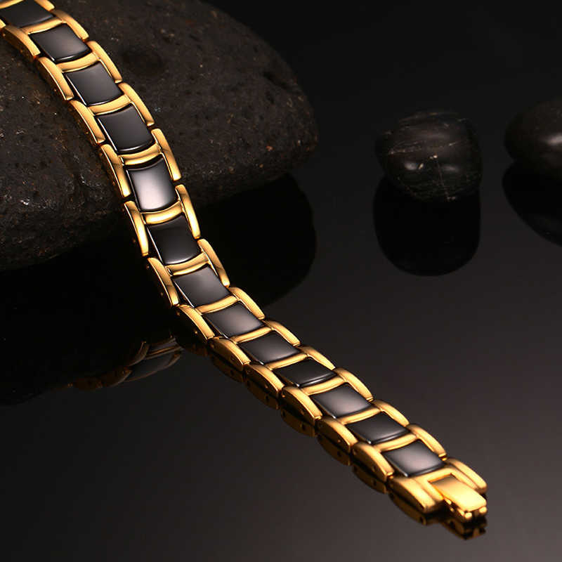 Vinterly стальной магнитный браслет мужской черный керамический энергетический германиевый браслет мужские браслеты ручной работы золотые браслеты с голограммой 2018