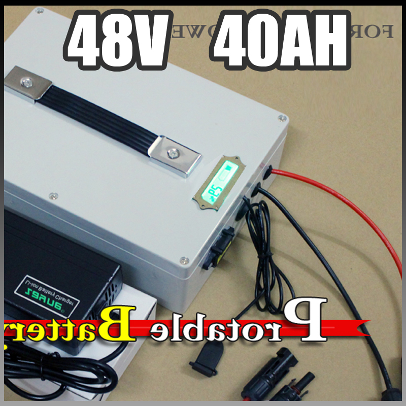 48V 40Ah electric bike Protable battery , 2000W Electric Bicycle lithium Battery + BMS Charger 48v li-ion scooter battery pack 48 volt li ion battery pack electric bike battery with 54 6v 2a charger and 25a bms for 48v 15ah lithium battery
