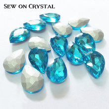 HOT BLING Sewing Drop Rhinestones Glass Crystals Appliques Sew On Clear Crystal Stones Pointback Strass Crystal use for festival all sizes clear crystal white rectangle shape sew on rhinestones glass strass sewing crystal stones for dress making accessories