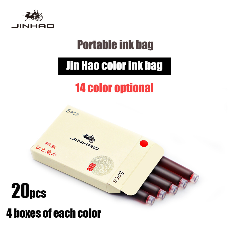 4 Boxes of Each Color 20 Pcs Jinhao Ink Fountain Pen Refill Ink Penblack Red Blue Ink Bottle Glass Cartridge Disposable Ink Bag