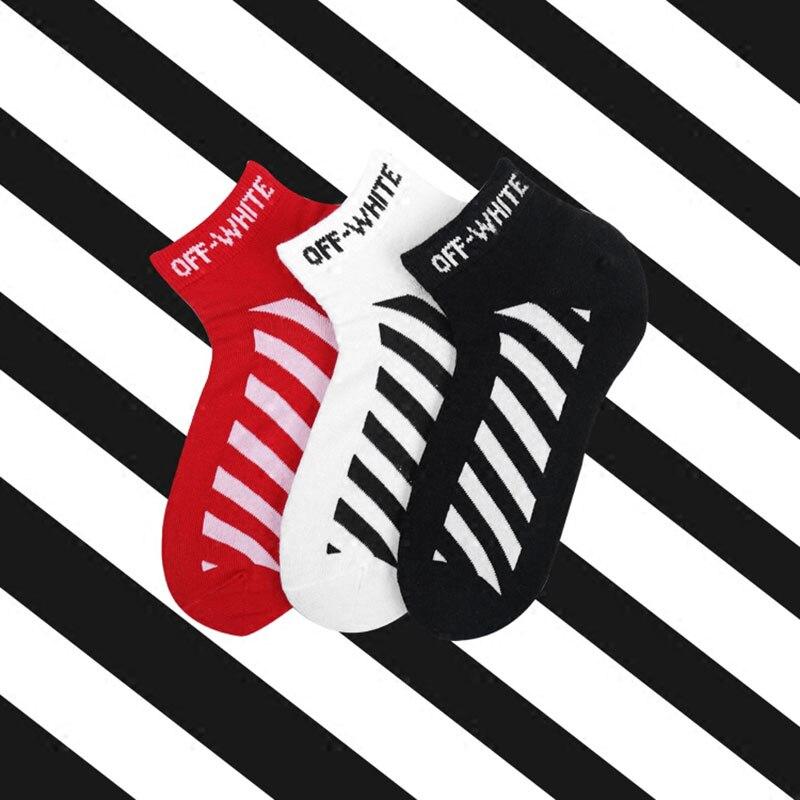 Hot Sale Tide High Quality Ankle Socks Men Fashion Street Style Hip Hop Cotton Socks Short Casual Diagonal Stripes Socks Men