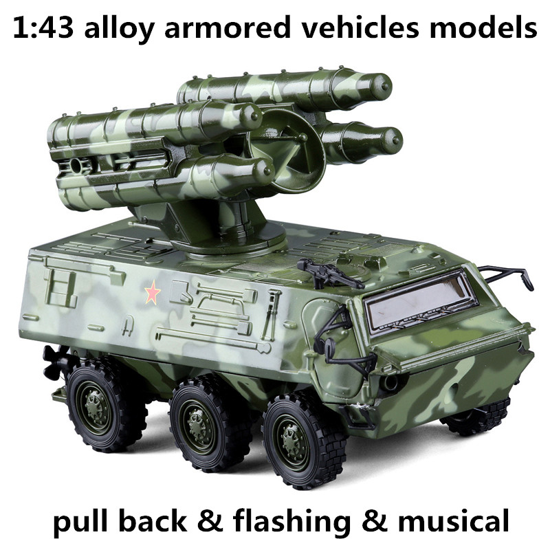 1 43 alloy armored vehicles model simulation military model toy vehicles metal diecasts pull back flashing