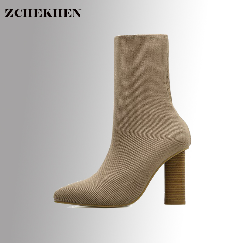 2017 Europe autumn and winter new knitted stretch boots Socks boots Pointed Toe High heel women boots Chunky Tacones Mujer #19 силиконовые пленки крышки stretch and fresh