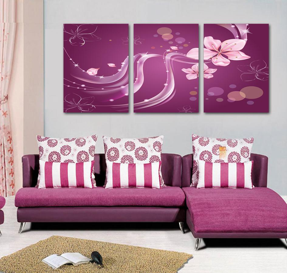 3 panel canvas art purple room decoration pink canvas wall art abstract art decor drawing office art drawing office