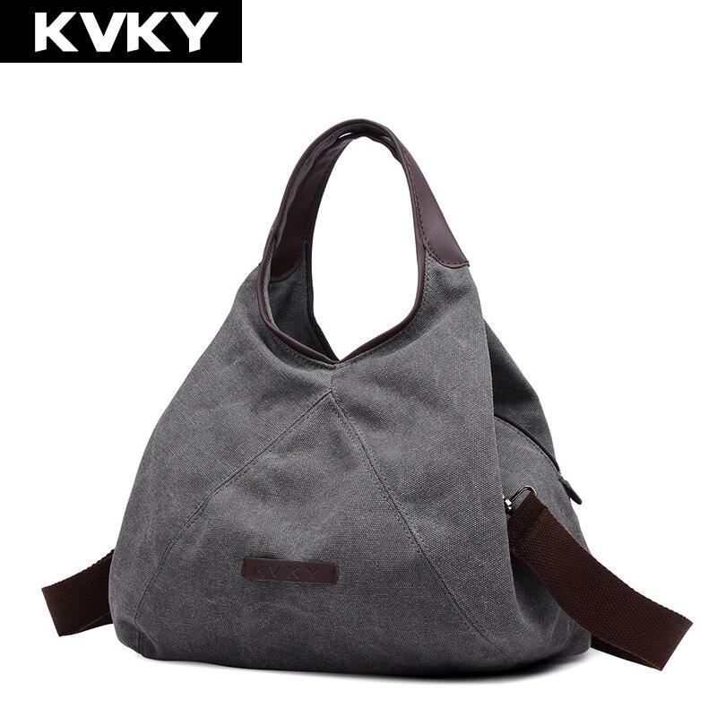 KVKY New Retro Canvas Handbag Women Shoulder Cross body Bag Fashion Casual bags Designer High Quality Handbag Large Capacity Bag