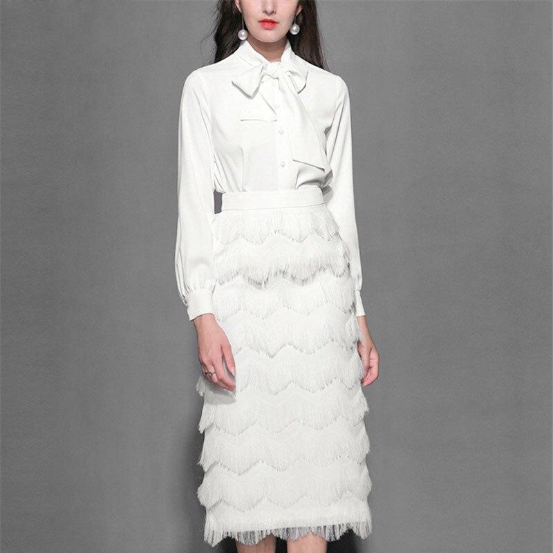 6ef433c3fa4c Moda Conjunto Traje Borla Top Blusa Oficina Primavera Falda Las Mujeres  Elegante Pasarela Arco Piezas 2 Blanco ...