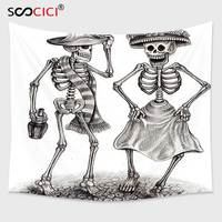 Cutom Tapestry Wall Hanging Day Of The Dead Decor Festive Celebration Mexican Dancing Couple Skeleton Art