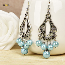 Fashionable noble blue round earrings
