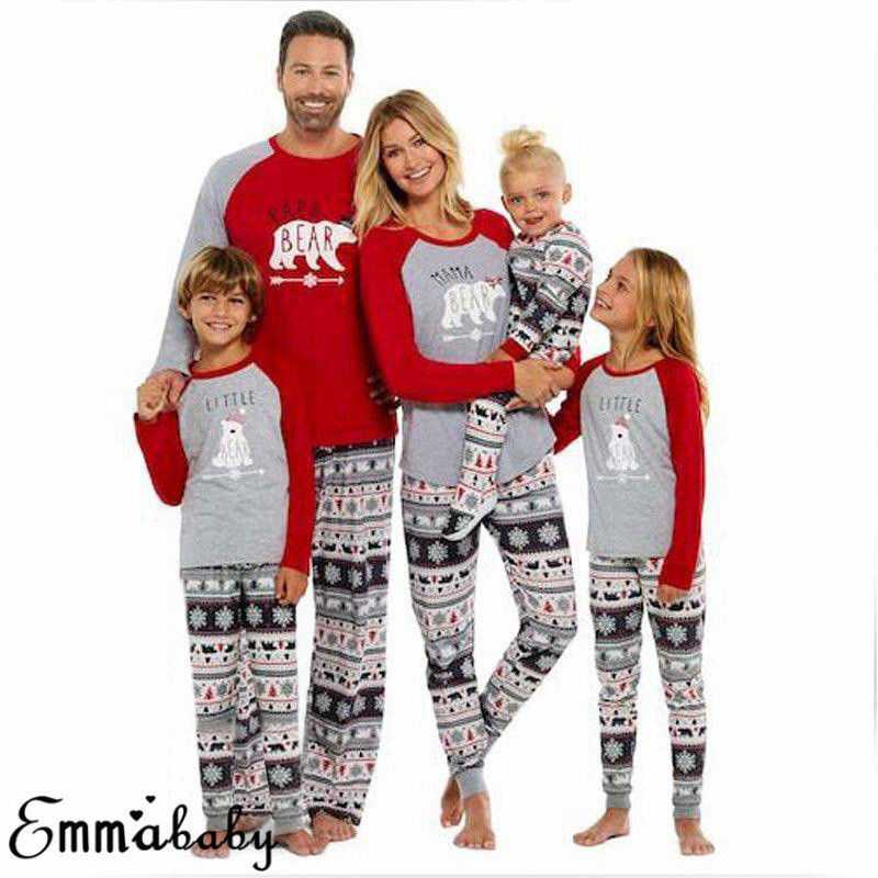 Father Mother Kids Clothes Family Matching Outfits Casual Long Sleeve Christmas Pajamas Nightwear Sleepwear Cotton Blend Sets
