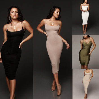 Women Dress Hot New Women's Bandage Dresses Sexy Bodycon Sleeveless Top Solid Knee-length Evening Party Club Midi Dress new slender and large size printed dresses for women in summer of 2019 fashion new type a medium length dress sexy top