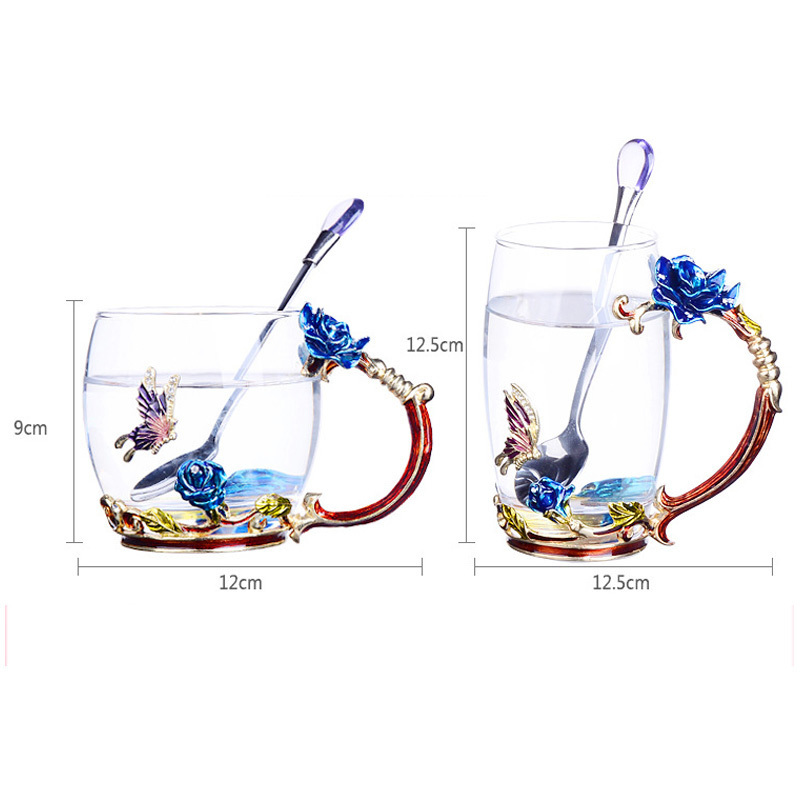 GFHGSD New Classical Enamel Glass Coffee Mug Luxury Glass Cups with Handle, Both for Hot Tea and Cold Water CN123