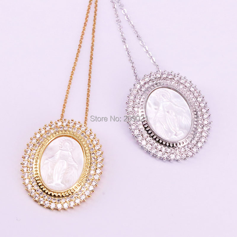 5Pcs Silver Gold Color Micro Pave CZ Natural White Shell Carved Jesus Pendant Fashion Necklace