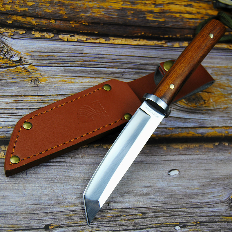 Image 4 - PEGASI Japanese 9CR18MOV outdoor self defence fishing knife jungle hunting knife outdoor sharp tactical knife + leather cover-in Knives from Tools