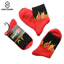 1 Pair Calcetines Mujer Red Flame Pattern Crew Socks 2017 Hip Hop Fashion USA Skateboard Classic Street Brand Cotton Socks
