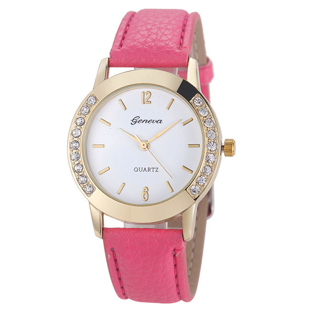 2018 Luxury Female Brand Fashion Watch Diamond Analog Leather Band Quartz Wrist