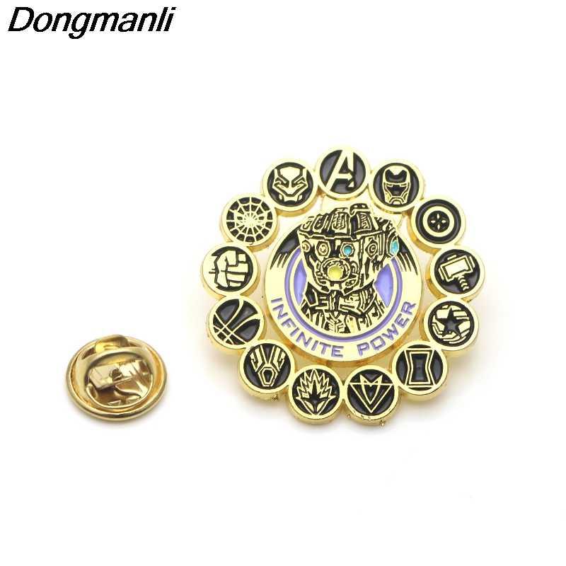 P3691 Dongmanli Thanos Infinity Gauntlet Logam Enamel dan Bros untuk Lapel Pin Tas Ransel Lencana Hadiah Keren
