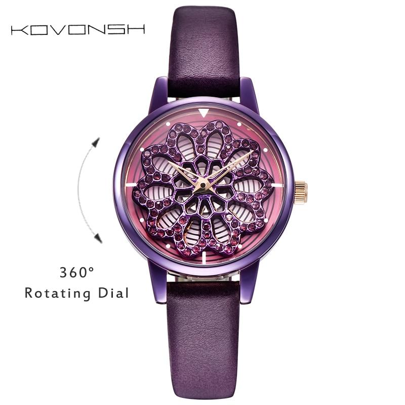 KOVONSH 360 Degree Rotation Dial Women Watches Fashion Jewels Mini Lady Watch Dress Women Watch Luxury Quartz Wrist Watches Gift diamond stylish watches for girls