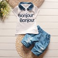 BibiCola baby boys summer removable denim lapel clothes suit kids letter t shirt jean shorts suit children leisure clothing sets