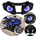 06 07 Assembled Custom Projector Headlight HID White Angel Eyes & Blue Demon Eyes Fits For Yamaha YZF R6 2006-2007